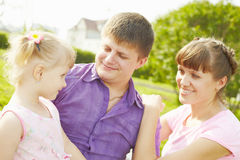 Couple with daughter b Stock Images