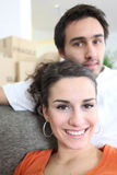 Couple on day of move Royalty Free Stock Photos
