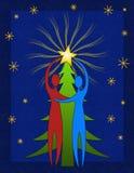 Couple Decorating Christmas Tree royalty free stock photo