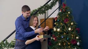 Couple decorating Christmas tree with baubles stock video