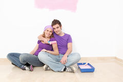 Couple decorating painting royalty free stock photos