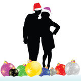 Couple with decoration ball vector illustration. On white Stock Images