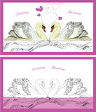 Couple decoration swans on waves Stock Images