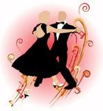 Couple_ del baile de la silueta Imágenes de archivo libres de regalías