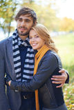 Couple in demi season clothes Royalty Free Stock Images