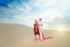 Couple in desert Stock Photo