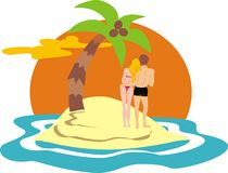 Couple on desert island Stock Photo