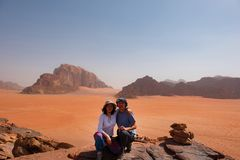Couple in the desert stock photography