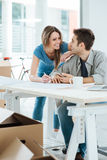 Couple designing their new house Stock Images