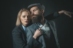 Couple detectives investigators partners. Partnership clever intelligent reporter investigator. Man and blonde woman. Couple detectives investigators partners stock photos