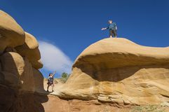Couple in Devils Garden Escalante Grand Staircase National Monument Utah Royalty Free Stock Images