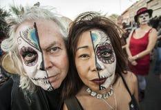 Couple on Dia De Los Muertos in Makeup Royalty Free Stock Photo