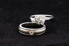 Couple diamond rings Stock Photos