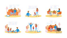 Couple on different activity set. Father, mother vector illustration