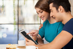 Couple with digital tablet. Stock Photo