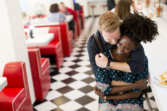 Couple in the diner Stock Photo