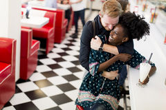 Couple in the diner Royalty Free Stock Photos