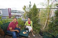 Couple Dining Outdoors Stock Photos