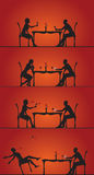 Couple dining silhouettes. Series of a silhouetted couple dining together at a table.  Reddish background Royalty Free Stock Photo