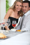 Couple at the dinner table Royalty Free Stock Photo