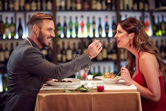 Couple at dinner together. In restaurant Stock Photography