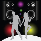 Couple in disco color vector Royalty Free Stock Images