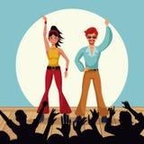 Couple of disco dancers. Vector illustration graphic design stock illustration