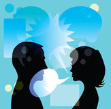 Couple discuss in bubble Stock Photography