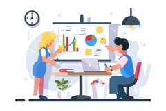 Coworkers discussing diagram graphs. Couple discussing financial chart analytics. Man woman brainstorming flipchart statistic diagram graphs. Presentation vector illustration