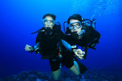 Couple diving on coral reef royalty free stock image