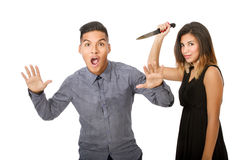 Couple divorce concept with killing with knife Stock Images