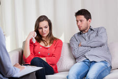 Couple before divorce at psychotherapy Stock Image