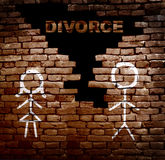 Couple divorce wall. Man and woman stick figures on Divorce brick wall Royalty Free Stock Images