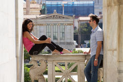 Couple do sightseeing in Athens Stock Images