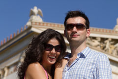 Couple do sightseeing in Athens Royalty Free Stock Photos