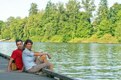 Couple on Dock - horizontal Stock Images