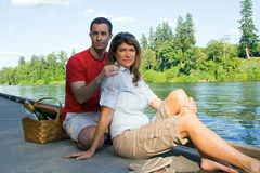 Couple on Dock - horizontal Stock Photo