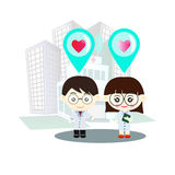 Couple of doctors - Illustration. Couple of doctors standing in front of the hospital stock illustration
