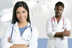 Couple of doctors indian woman and african man Royalty Free Stock Photography
