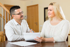 Couple with documents at home Stock Photography