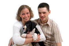 Couple and dog royalty free stock photos