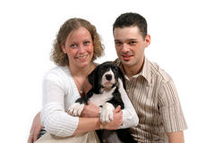 Couple and dog Royalty Free Stock Images