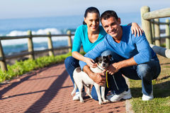 Couple dog beach Royalty Free Stock Photo