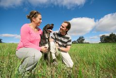 Couple with dog in field royalty free stock photo