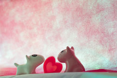 Couple dog with  heart Royalty Free Stock Image