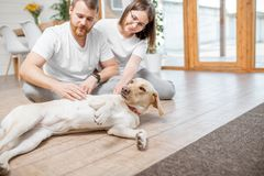 Couple with dog in the house. Young lovely couple in white t-shirts playing with their dog sitting on the floor in the house royalty free stock photos