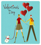 Couple and dog love Valentines day greeting card Stock Image