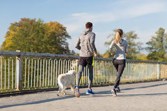 Couple with dog running outdoors Stock Photography
