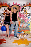 Couple dog urban graffiti Royalty Free Stock Images