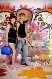 Couple dog urban graffiti Royalty Free Stock Photos